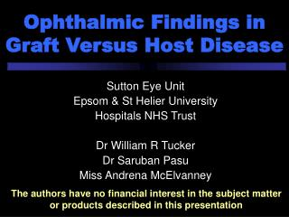Ophthalmic Findings in Graft Versus Host Disease