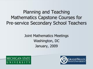 Planning and Teaching  Mathematics Capstone Courses for  Pre-service Secondary School Teachers
