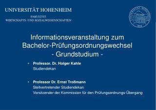 UNIVERSIT�T HOHENHEIM FAKULT�T WIRTSCHAFTS- UND SOZIALWISSENSCHAFTEN