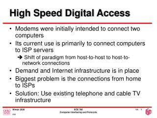 High Speed Digital Access