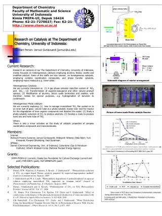 Research on Catalysis at The Department of Chemistry, University of Indonesia: