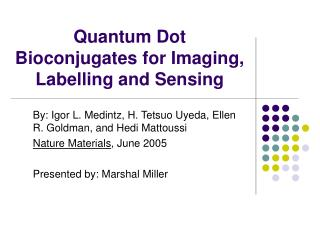 Quantum Dot Bioconjugates for Imaging, Labelling and Sensing