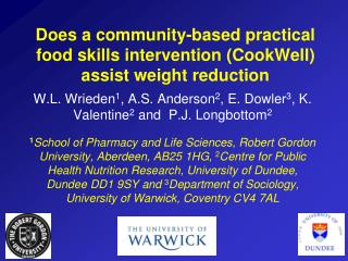 Does a community-based practical food skills intervention (CookWell) assist weight reduction