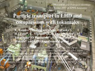 Particle transport in LHD and comparisons with tokamaks