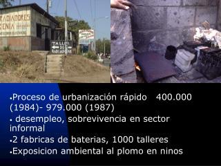Proceso de urbanización rápido   400.000 (1984)- 979.000 (1987)