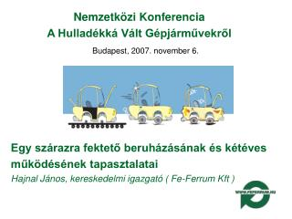 Nemzetközi Konferencia A Hulladékká Vált Gépjárművekről Budapest, 2007. november 6.