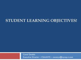 Student Learning Objectives!