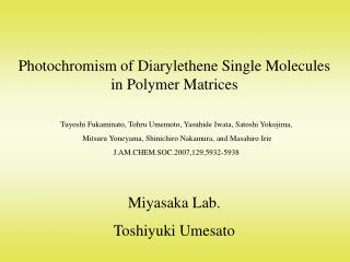 Photochromism of Diarylethene Single Molecules in Polymer Matrices