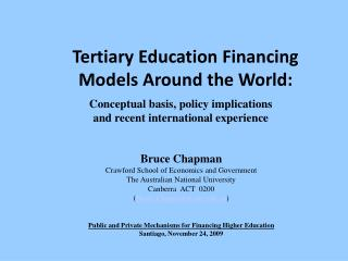 Tertiary Education Financing Models Around the World: