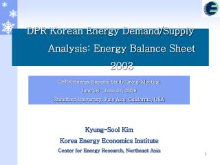 DPR Korean Energy Demand/Supply Analysis: Energy Balance Sheet 2003