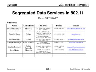 Segregated Data Services in 802.11