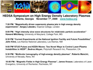 HEDSA Symposium on High Energy Density Laboratory Plasmas
