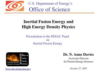 Presentation to the FESAC Panel on Inertial Fusion Energy