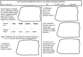 ALİ YALKIN İLKÖĞRETİM OKULU  4/A SINIFI ÇALIŞMA SAYFASI