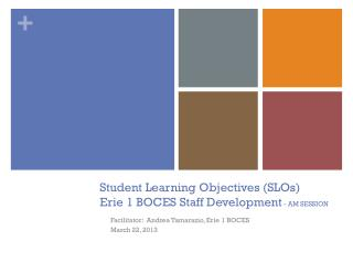 Student Learning Objectives (SLOs) Erie 1 BOCES Staff Development - AM SESSION