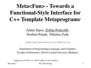 Meta<Fun> - Towards a Functional-Style Interface for  C++ Template  Metaprograms *