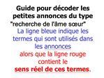 Guide pour d coder les petites annonces du type recherche de l me s ur La ligne bleue indique les termes qui sont utilis