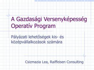 A Gazdasági Versenyképesség Operatív Program