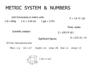 METRIC  SYSTEM  &  NUMBERS