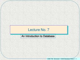 Lecture No. 7