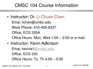 CMSC 104 Course Information