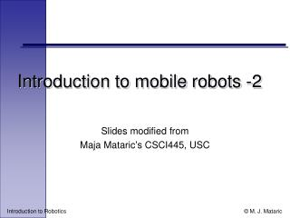 Introduction to mobile robots -2