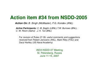 Action item #34 from NSDD-2005