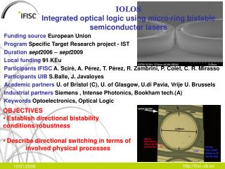 IOLOS Integrated optical logic using micro-ring bistable semiconductor lasers
