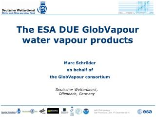 The ESA DUE GlobVapour water vapour products