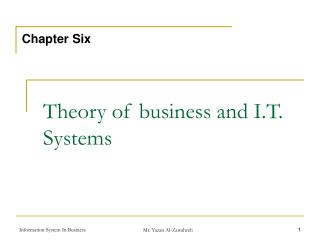 Theory of business and I.T. Systems
