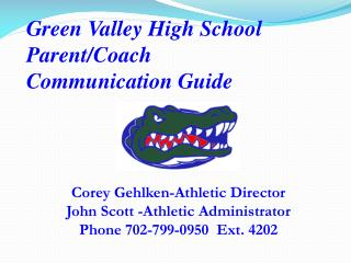 Green Valley  High School  Parent/Coach  Communication Guide