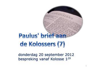 Paulus' brief aan de Kolossers (7)