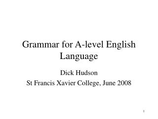 Grammar for A-level English Language