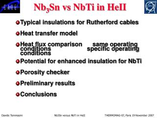 Typical insulations for Rutherford cables Heat transfer model