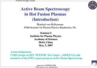 Active Beam Spectroscopy  in Hot Fusion Plasmas (Introduction)