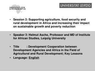 International Cooperation in Agricultural and Rural Development - Key Lessons from Africa