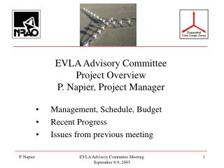 EVLA Advisory Committee Project Overview P. Napier, Project Manager