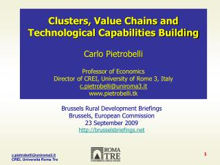 Clusters, Value Chains and Technological Capabilities Building Carlo  Pietrobelli