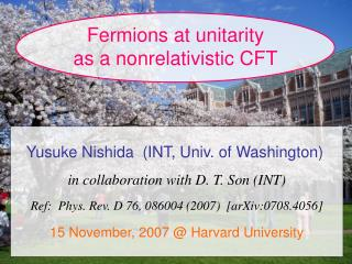 Fermions at unitarity as a nonrelativistic CFT
