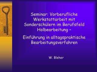 Seminar: Vorberufliche Werkstattarbeit mit Sonderschülern im Berufsfeld Holbearbeitung –
