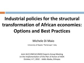 Joint AUC/UNECA/UNIDO Experts Group Meeting  on the Implementation of the Plan of Action of AIDA