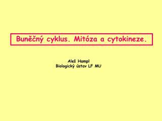 Buněčný cyklus. Mitóza a cytokineze.