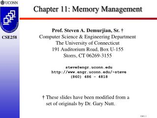 Chapter 11:  Memory Management