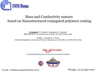 Mass and Conductivity sensors  based on Nanostructured conjugated polymers coating