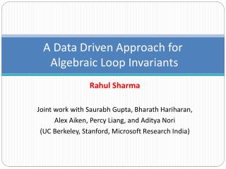 A Data Driven Approach  for Algebraic  Loop Invariants