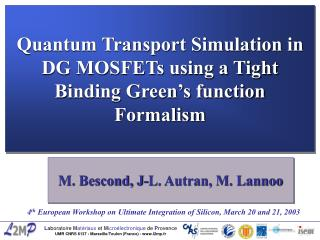 Quantum Transport Simulation in DG MOSFETs using a Tight Binding Green's function Formalism