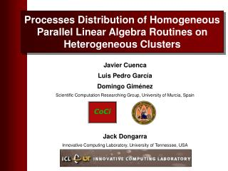 Processes Distribution of Homogeneous Parallel Linear Algebra Routines on Heterogeneous Clusters