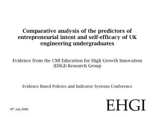Policy Self-efficacy and entrepreneurial intent Survey and results Conclusions