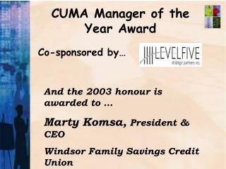 CUMA Manager of the Year Award