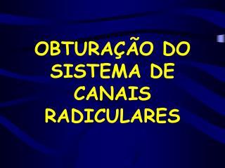 OBTURA��O DO SISTEMA DE CANAIS RADICULARES